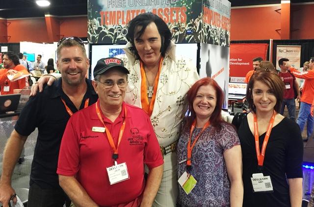 Justin Hibbard, Jack de Golia (ahem) Elvis, Shelley Avelino, Amy Farris (DevLearn Swat Team)